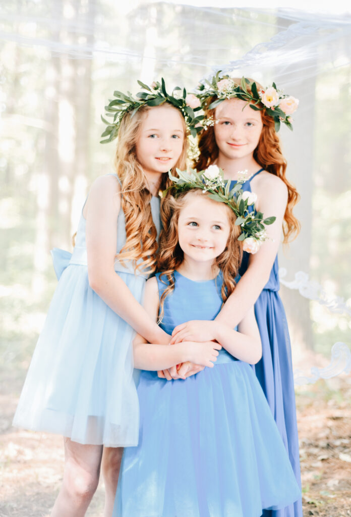 Michigan Wedding Photographer Blue Wedding Flowergirl Eucalyptus Hair Garland Redhair