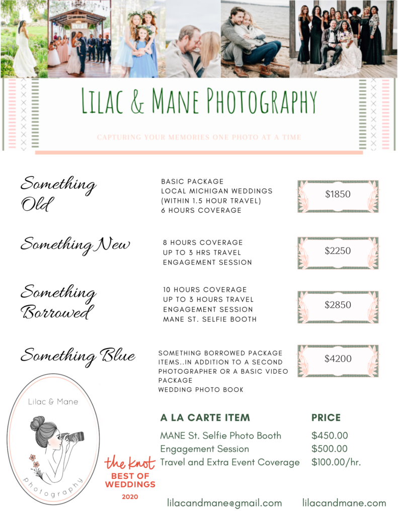Michigan Wedding Lilac and Mane Price Package